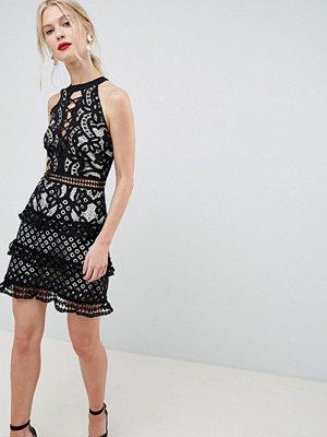 Liquorish Layered Lace Dress With Lace Up Front