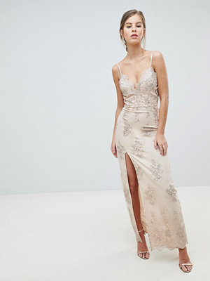 Chi Chi London Scalloped Plunge Maxi Prom Dress with Gold Embroidery - Nude/gold