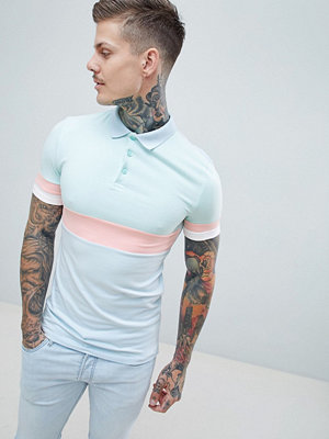 ASOS DESIGN muscle polo shirt in pastel colour block - Cool blue