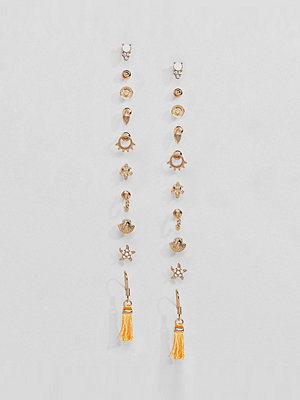 ASOS örhängen DESIGN Pack Of 10 Mermaid Summer Stud And Tassel Earrings