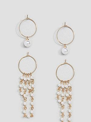 ASOS örhängen DESIGN Pack Of 2 Pearl Hoop Earrings