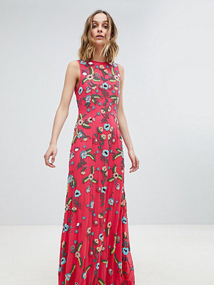 Frock and Frill Premium Embellished Maxi Dress - Hot pink