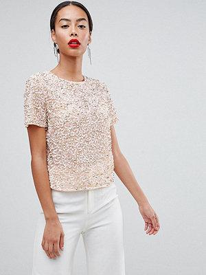Asos Tall T-shirt med paljettutsmyckning Mjukt rosa