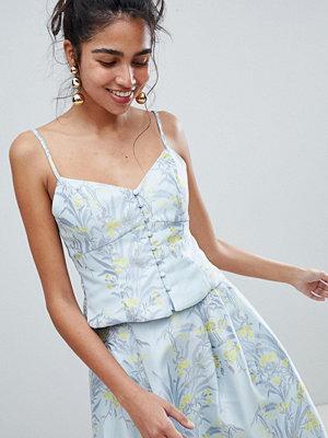 Oasis Jacquard-linne med blommönster och knappar Blåtoner