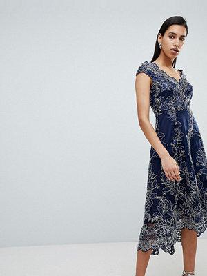 City Goddess Lace Bardot Midi Dress