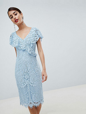 City Goddess Lace Pencil Dress With Frill Overlay - 4005