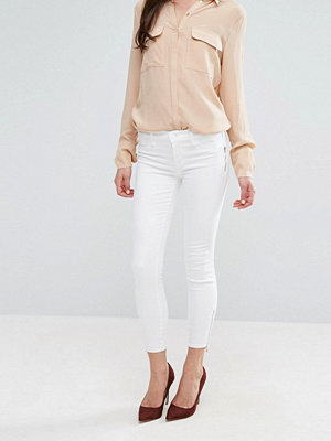 J Brand Tally Crop Skinny Jeans with Exposed Zip - Blanc