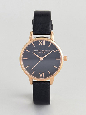 Klockor - Olivia Burton OB16MD83 Black Sunray Dial Midi Leather Watch