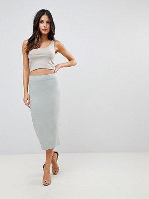 ASOS DESIGN high waist longerline pencil skirt - Mint