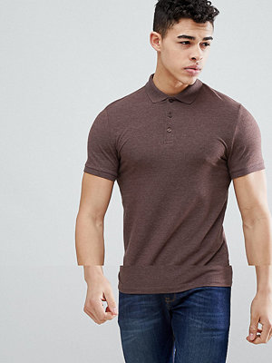ASOS DESIGN muscle fit jersey polo in brown - Brown bear marl