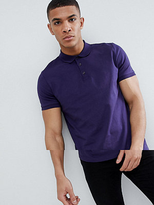 ASOS DESIGN jersey polo in purple - Midnight