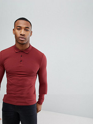 ASOS DESIGN long sleeve muscle fit pique polo - Cowhide