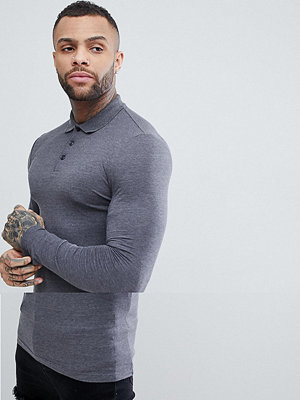 ASOS DESIGN longline muscle fit jersey long sleeve polo - Charcoal marl