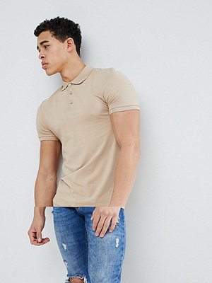 ASOS DESIGN longline muscle fit jersey polo in beige - Carboard
