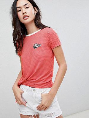 Brave Soul Randig t-shirt med Live-märke Racer red/white