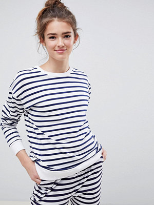 ASOS DESIGN Randig sweatshirt Vit/marinblå