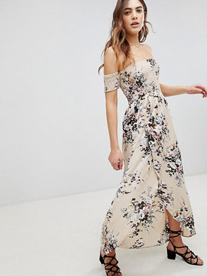 Brave Soul Eugene Bardot Shirred Maxi Dress in Floral Print - Beige