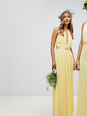 TFNC Pleated Maxi Bridesmaid Dress with Cross Back and Bow Detail - Pastel yellow