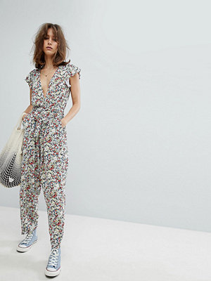 Free People Ruffle Your Feathers Print Jumpsuit