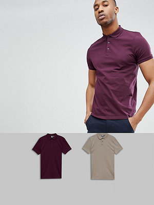 ASOS DESIGN Polo In Jersey 2 Pack Save - Regal/schfld