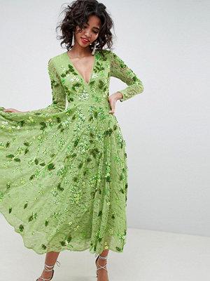 ASOS Edition Embellished V Neck Midi Dress