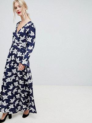 Liquorish Floral Print Wrap Maxi Dress