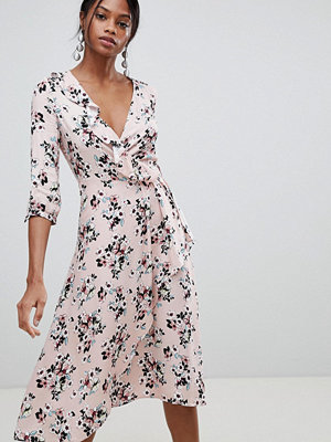 Liquorish Floral Print Wrap Midi Dress
