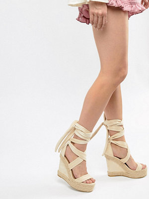 PrettyLittleThing Wedge Espadrille Sandals - Nude