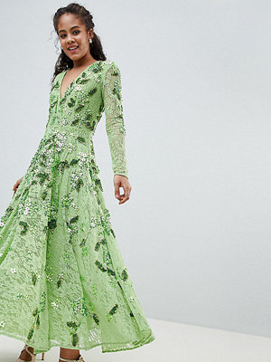 ASOS Edition Tall Embellished V Neck Midi Dress