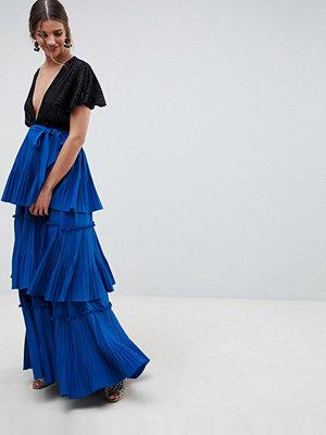 ASOS DESIGN Premium Veckad maxikjol i lager Kobaltblå