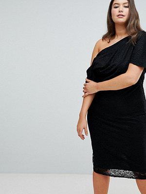 ASOS Curve ASOS DESIGN Curve pleated shoulder lace midi dress