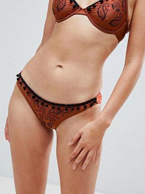ASOS DESIGN Boho Paisley Embroidered Brazilian Bikini Bottom - Rust
