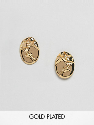 ASOS örhängen DESIGN Gold Plated Crushed Metal Earrings