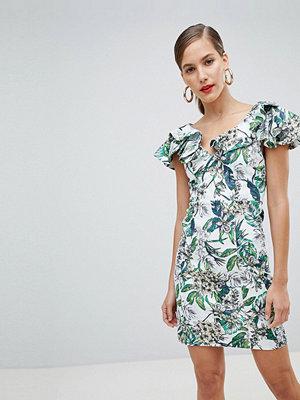 River Island ruffle shoulder floral bodycon mini dress - Multi