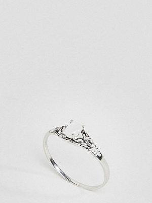 ASOS Curve ASOS DESIGN Curve Sterling Silver Faux Moonstone Ornate Engraved Ring