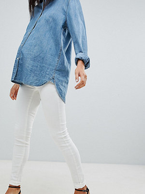 Mamalicious Skinny Maternity Jeans With Stretch Panel