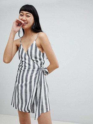 Pull&Bear tie side stripe cami dress linen - Stripe
