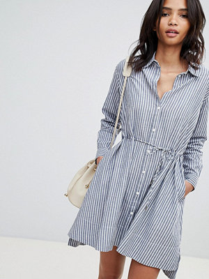 French Connection Stripe Tie Detail Dress - Blue/white stripe