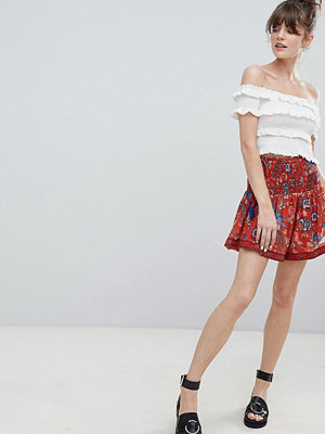 Leon and Harper Bird Print Mini Skirt