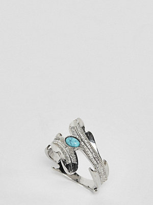 ASOS Curve ASOS DESIGN Curve exclusive wrap around ring with stone and leaf detail in silver - Rhodium