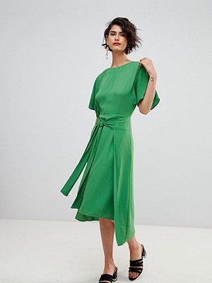 Warehouse Kimono Sleeve Knot Front Midi Dress