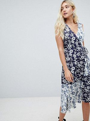 Warehouse willow print cotton midi dress - Multi