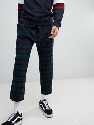 ASOS DESIGN Tapered Trousers In Check With Asymmetric Front