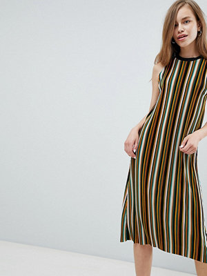 Pull&Bear stripe high neck midi dress in multi