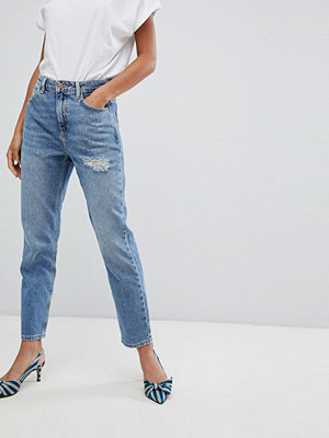 New Look Rome Ripped Mom Jean - Mid blue