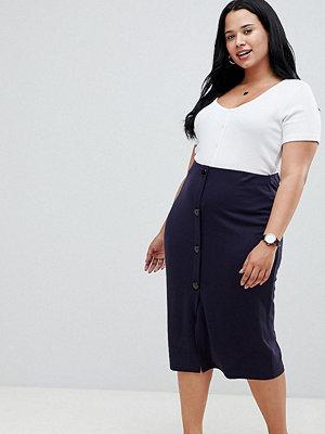 ASOS Curve ASOS DESIGN Curve ponte button front pencil skirt - Navy