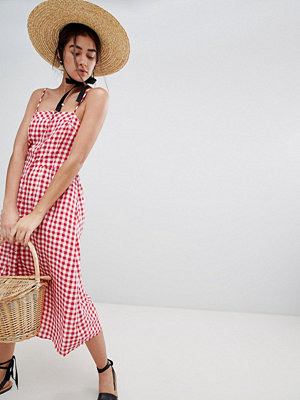 New Look gingham tie back midi dress - Red pattern