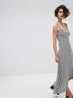 Warehouse Stripe Wrap Front Midi Dress - Multi