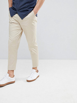 ASOS Tapered Smart Trousers In Stone Cotton Sateen