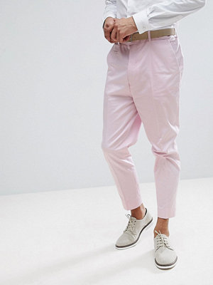 ASOS Wedding Tapered Smart Trousers In Pink Cotton Sateen